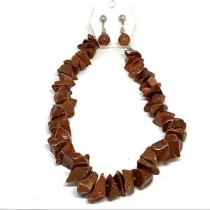 Goldstone Beaded Necklace Earrings Set Glittery